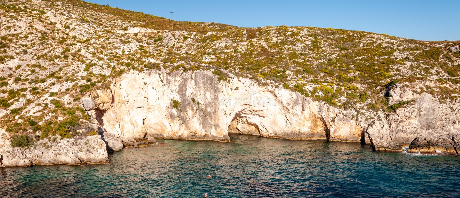 Zakynthos Island, Greece. A pearl of the Mediterranean with beaches and coasts suitable for unforgettable sea holidays. Kave of Keri stock photography