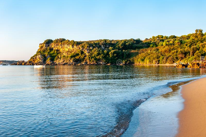 Zakynthos Island, Greece. A pearl of the Mediterranean with beaches and coasts suitable for unforgettable sea holidays. Agios Nikolaos Beach at sunrise stock photography