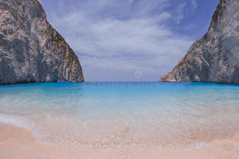 Zakynthos, Navagio bay, Greece royalty free stock photo