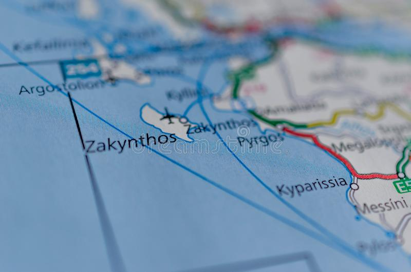 Zakynthos sur la carte photo stock