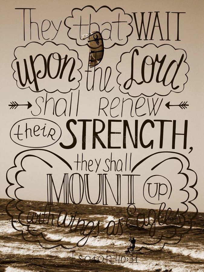 Zal het hand van letters voorziende Vertrouwen in Lord hun sterkte vernieuwen stock afbeelding