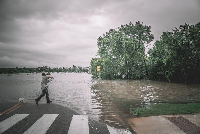 Zalewać ulicy podczas Huraganowego Harvey zdjęcie royalty free