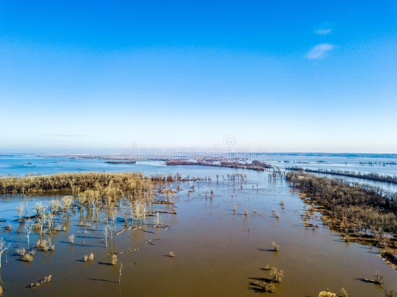 Zalewać wzdłuż Missiouri rzeki w Nebraska 2019 obrazy royalty free