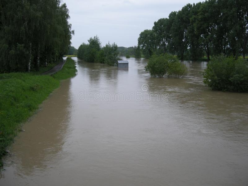Zalewająca rzeka w środkowym Europa obraz royalty free
