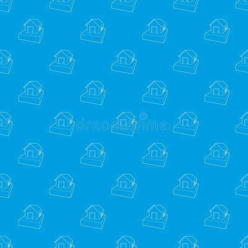 Zalewający domu wzoru wektorowy bezszwowy błękit ilustracja wektor