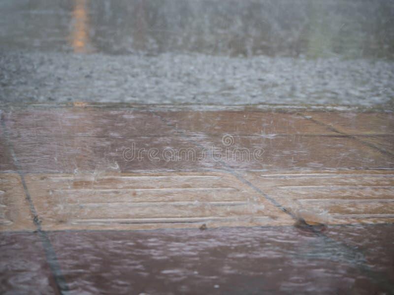 Zalewający footpath deszczem zdjęcie stock
