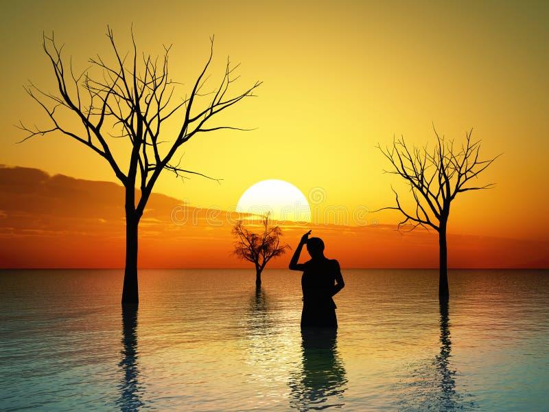 Download Zalewająca ziemia ilustracji. Obraz złożonej z sunrise - 22347137