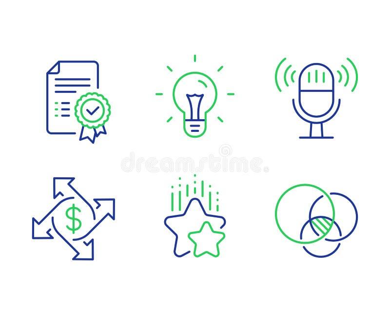 Zaliczający się gwiazdy, zapłaty wymianę i mikrofon ikony ustawiać, Świadectwa, pomysłu i Euler diagrama znaki, wektor ilustracji