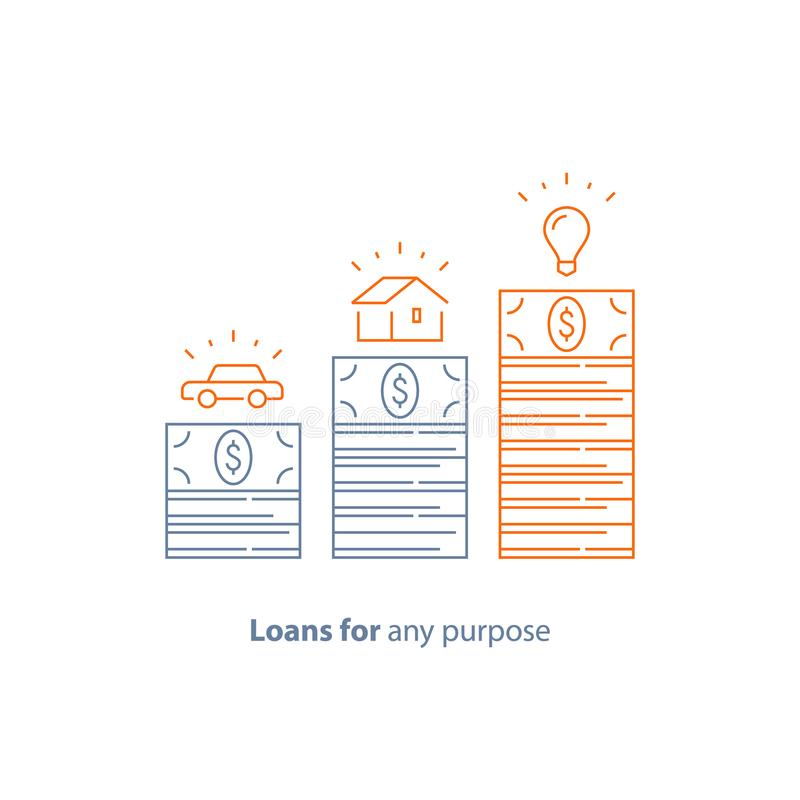Zaliczka, hipoteczna pożyczka, samochodu kredyt, pieniądze dla jakaś purpose, budżet dla zakupu, wektor kreskowa ikona royalty ilustracja