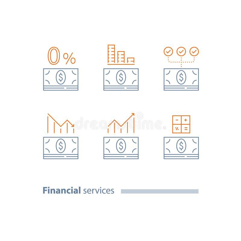 Zaliczka, refinansuje pożyczkę, kredytowego zatwierdzenie, wykres, inwestorskiego dywidend, zmniejszania i wzrosta, koszt kalkulu ilustracji