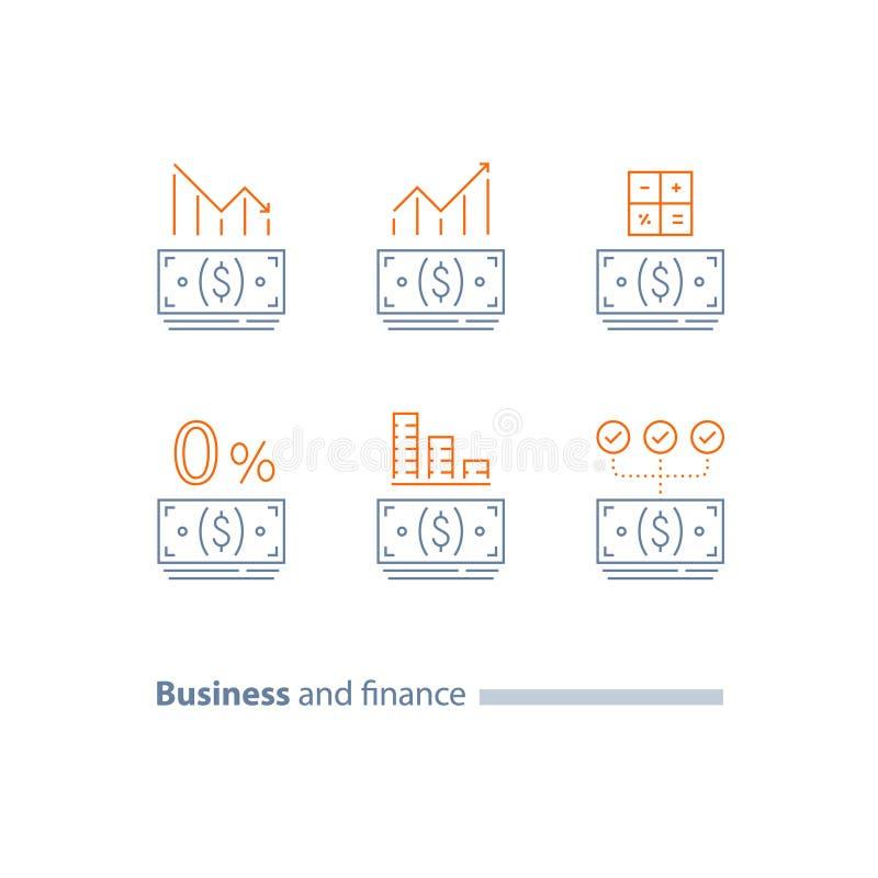 Zaliczka, refinansuje pożyczkę, kredytowego zatwierdzenie, wykres, inwestorskiego dywidend, zmniejszania i wzrosta, koszt kalkulu ilustracja wektor