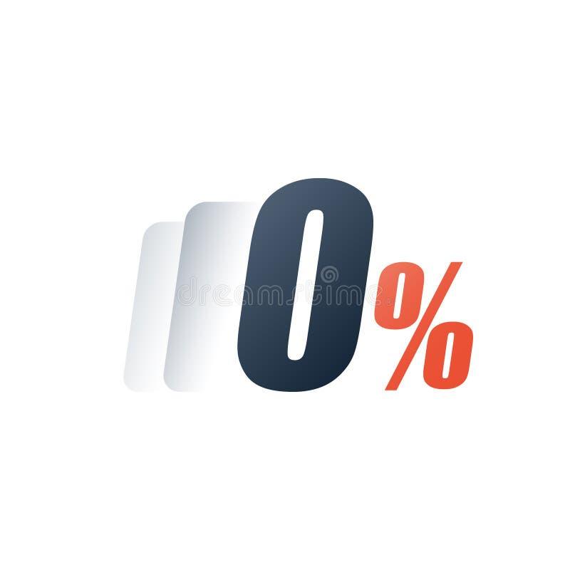 Zaliczki zaliczka, zero komisowa opłata, stopa procentowa, zero liczba, specjalna oferta, bezpłatny próbny okres royalty ilustracja