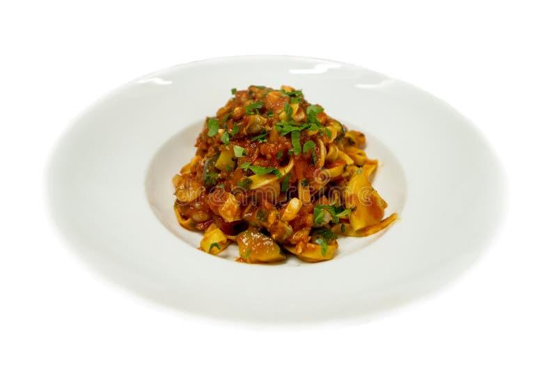 zalm, de noedels Italiaans voedsel van garnalentagliatele, Zeevruchten royalty-vrije stock foto's