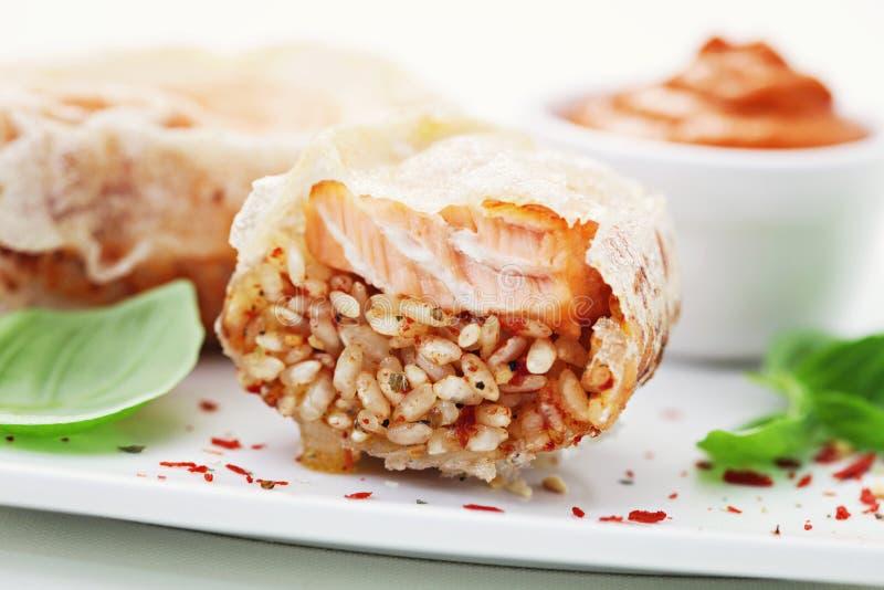 Zalm met rijst stock afbeeldingen