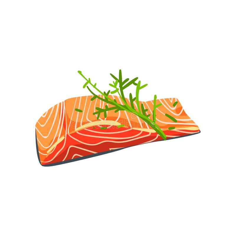 Zalmlapje vlees met dille, de vectorillustratie van het zeevruchtenproduct op een witte achtergrond royalty-vrije illustratie