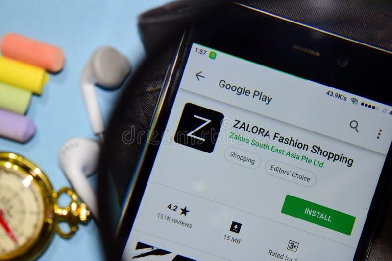 ZALORA forman el app del revelador que hace compras con magnificar en la pantalla de Smartphone imágenes de archivo libres de regalías