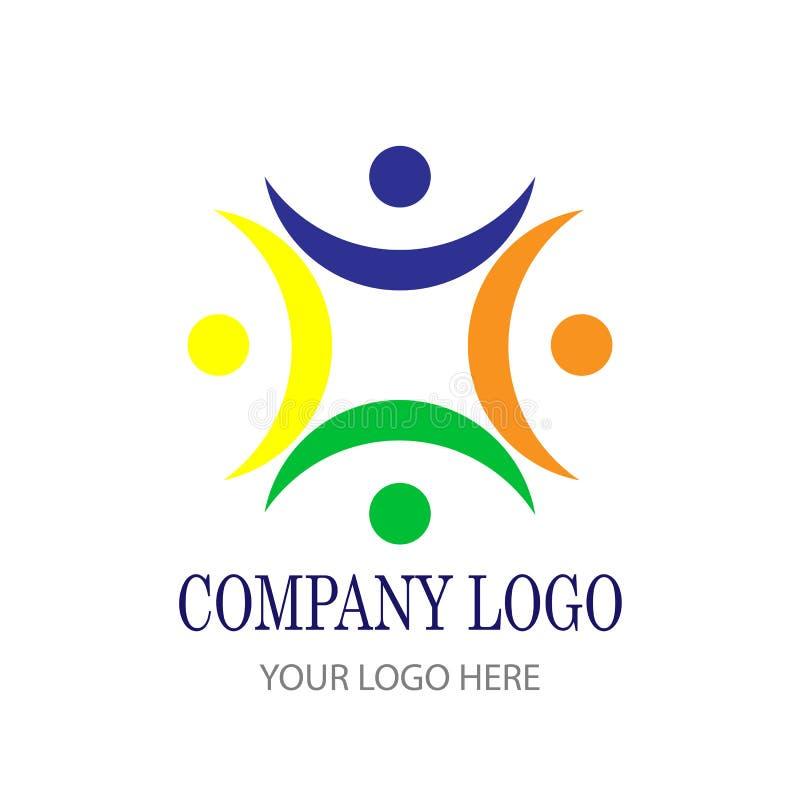 Zaludnia zjednoczenie drużyny pracy społeczności logo ogólnospołeczną ikonę royalty ilustracja