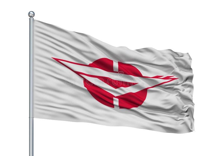 Zama City Flag On Flagpole, Japon, préfecture de Kanagawa, d'isolement sur le fond blanc illustration stock