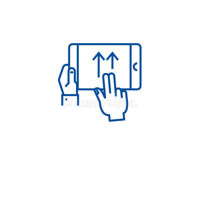 Zamachu gesta linii ikony pojęcie Zamachu gesta płaski wektorowy symbol, znak, kontur ilustracja royalty ilustracja