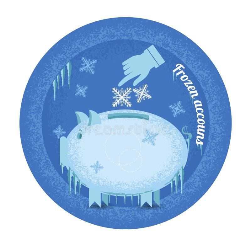Zamarznięci konta Prosiątko banka stojak marznący z soplem i płatkami śniegu ilustracja wektor