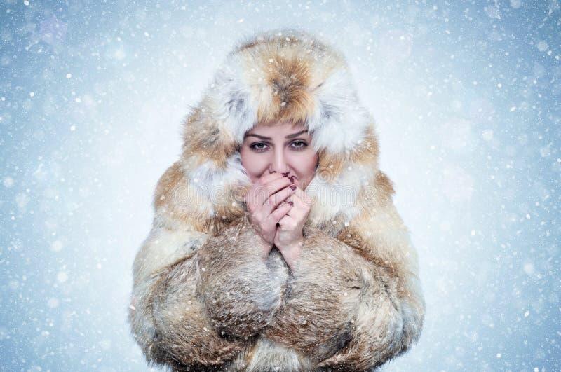 Zamarznięta młoda kobieta w lisa futerkowego żakieta nagrzania rękach, zimno, śnieg, mróz, miecielica obraz royalty free