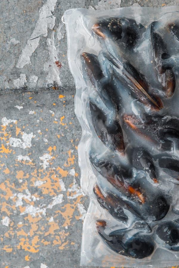 Zamarznięta Mussels próżnia - pakująca w starym metalu obrazy royalty free