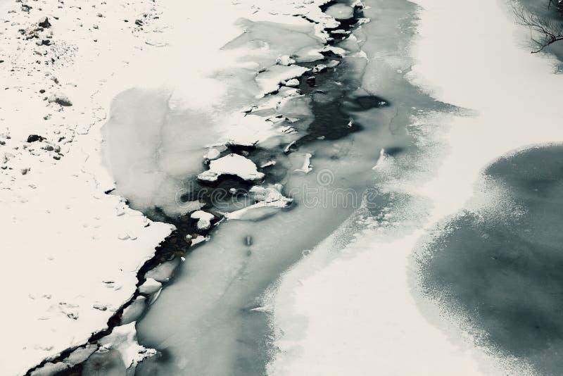 Zamarznięta rzeka i lód obraz royalty free