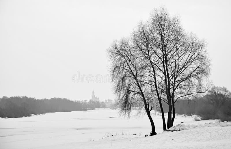 Zamarznięta Volkhov rzeka obrazy royalty free