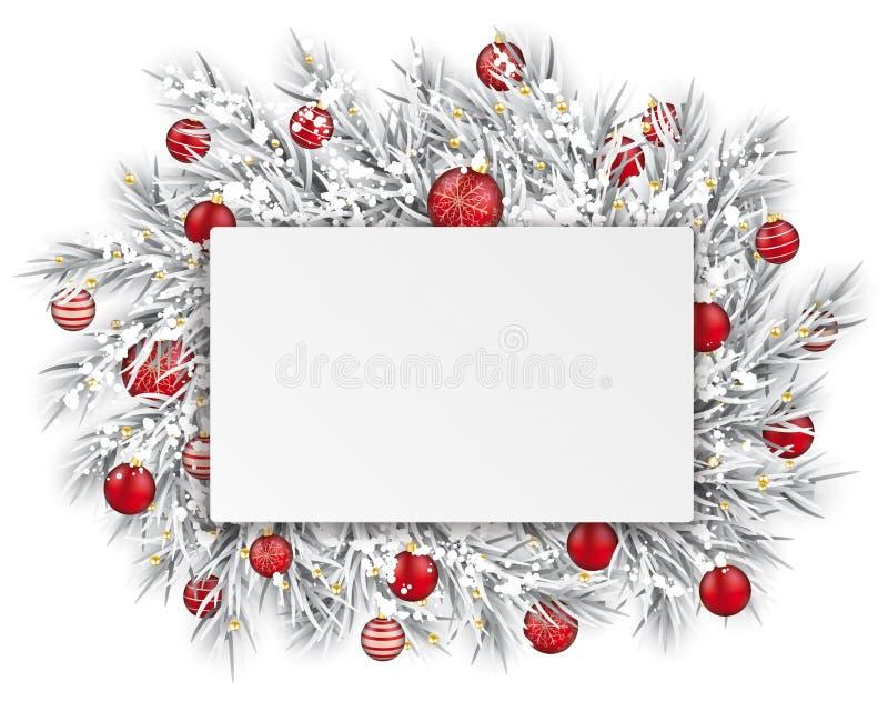 Zamarzniętego gałązka prostokąta papieru Ciency Tasiemkowi Śnieżni Czerwoni Baubles royalty ilustracja