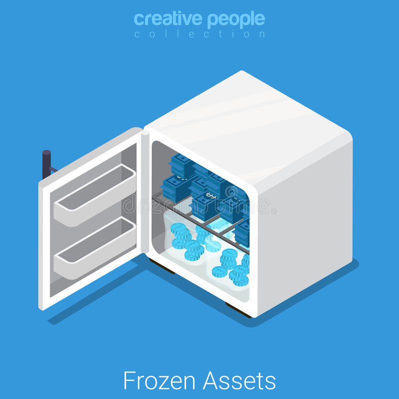 Zamarzniętego wartość rynku finansowego mieszkania 3d biznesowy wektor isometric ilustracji