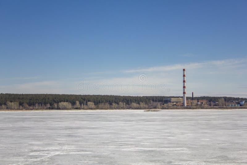 Zamarznięty biały śnieżny jezioro na tle roślina z pasiastą czerwieni drymbą, budynki w zielonym lesie pod niebieskim nieb fotografia royalty free