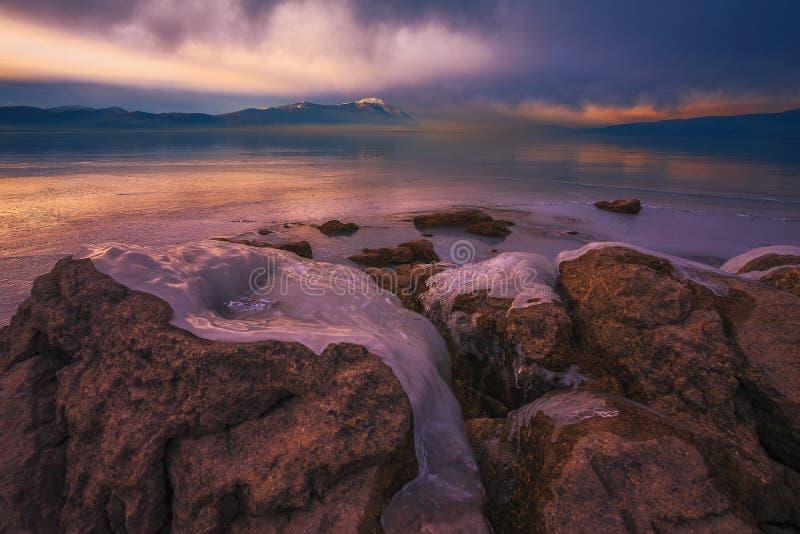 Zamarznięty Busko jezioro obrazy stock