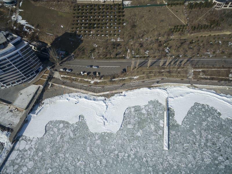 Zamarznięty Czarny morze w Odessa Ukraina obrazy stock