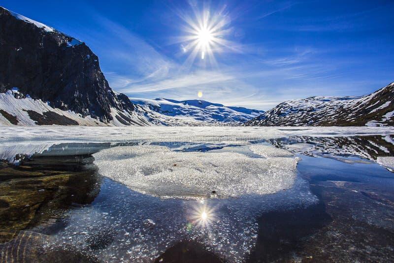 Zamarznięty Djupvatnet jezioro, Norwegia zdjęcia royalty free