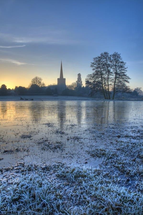 Zamarznięty floodplain, Worcestershire zdjęcie stock