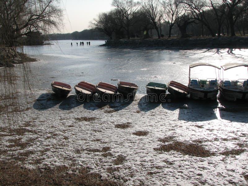 Zamarznięty Jeziorny Pekin, Chiny Książkowa pokrywa zdjęcie stock