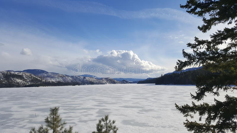 Zamarznięty jezioro bc fotografia royalty free