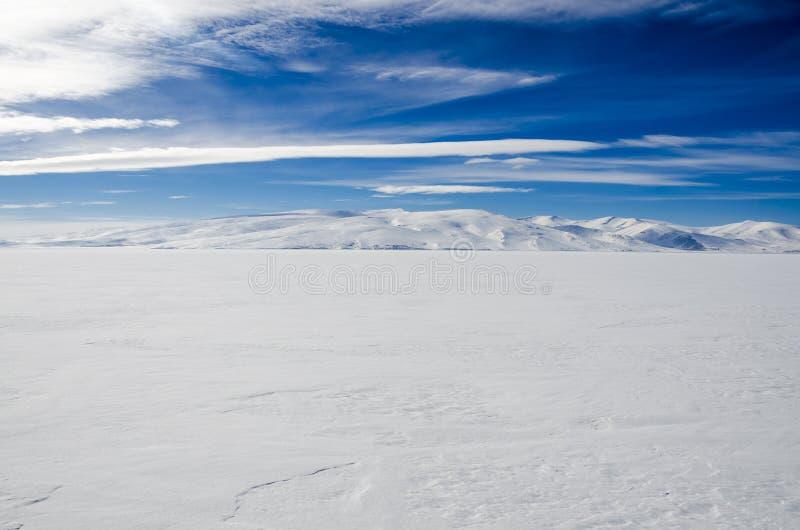 Zamarznięty jezioro krajobraz fotografia stock