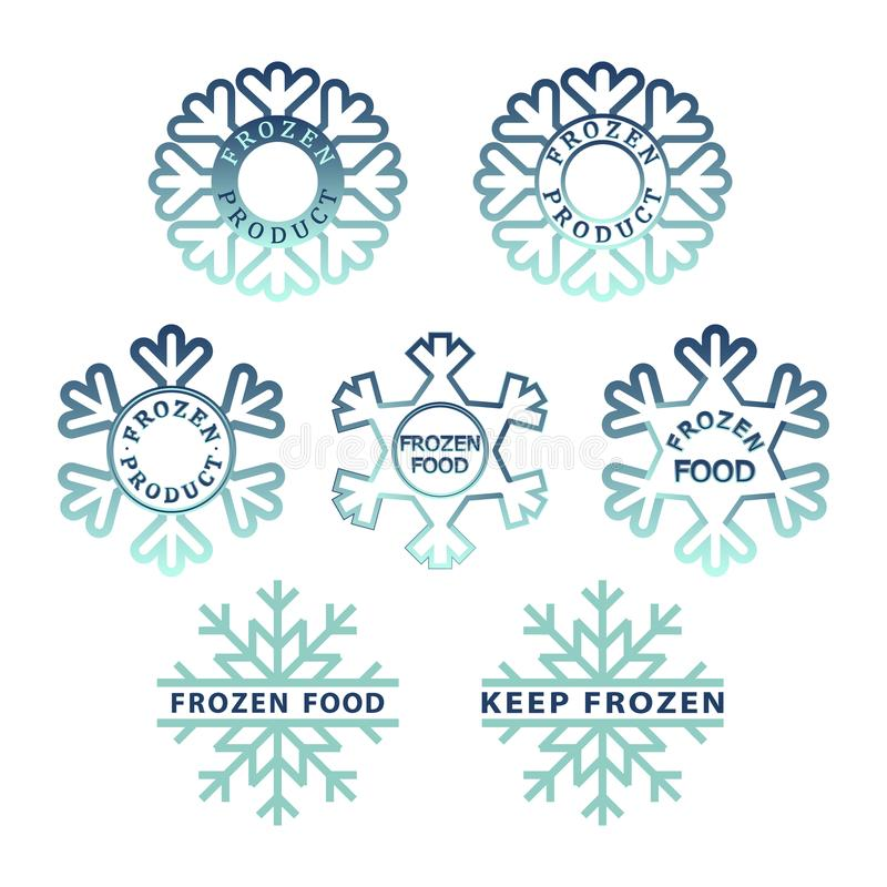 Zamarznięty produkt ikony set Zamarznięty jedzenie pakuje majcherów ilustracji