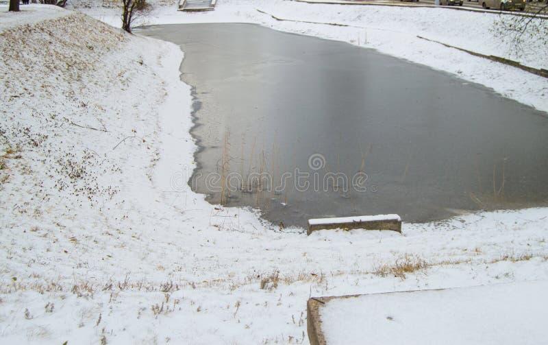 Zamarznięty staw zakrywający z pierwszy śniegiem w miasto parku fotografia royalty free