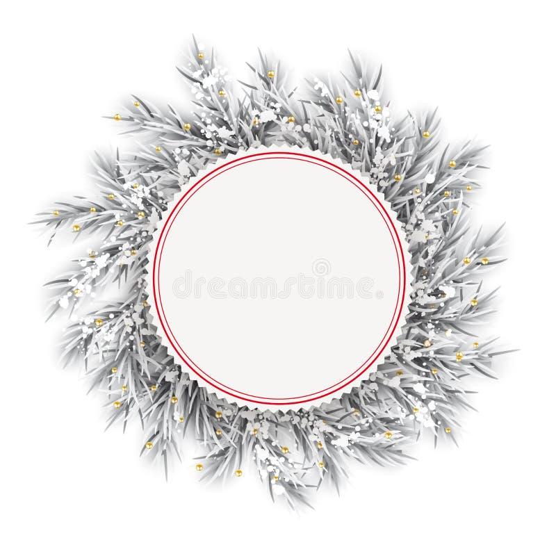 Zamarzniętych gałązek Czerwony emblemat Śnieżny Złoty Deco ilustracja wektor