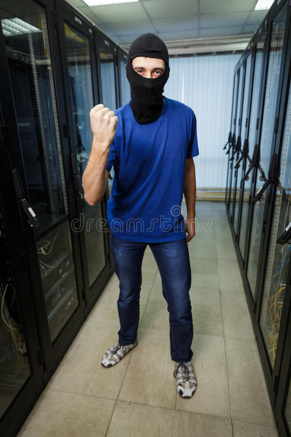 Zamaskowany cyber hacker zdjęcie stock