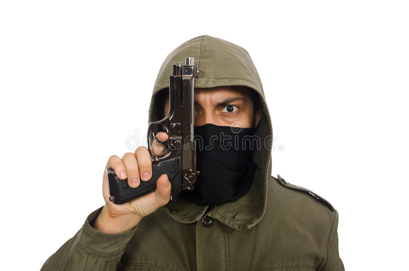Zamaskowany mężczyzna w kryminalnym pojęciu na bielu zdjęcie stock