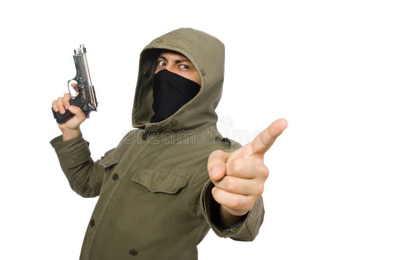 Zamaskowany mężczyzna w kryminalnym pojęciu na bielu zdjęcia royalty free