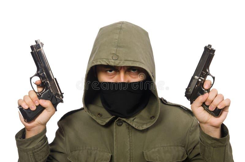 Zamaskowany mężczyzna w kryminalnym pojęciu na bielu obraz stock