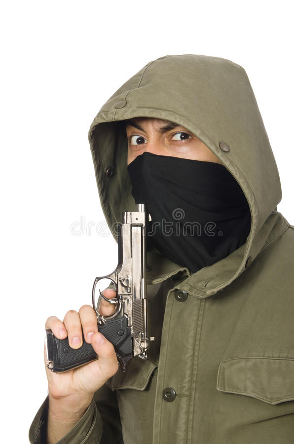 Zamaskowany mężczyzna w kryminalnym pojęciu na bielu fotografia royalty free