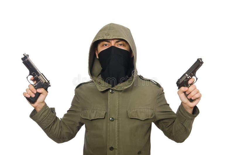 Zamaskowany mężczyzna w kryminalnym pojęciu na bielu zdjęcia stock