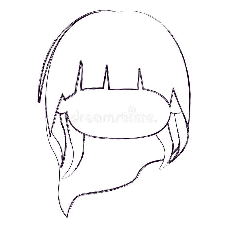 Zamazana cienka sylwetka beztwarzowa głowa mała dziewczynka z długie włosy ilustracja wektor