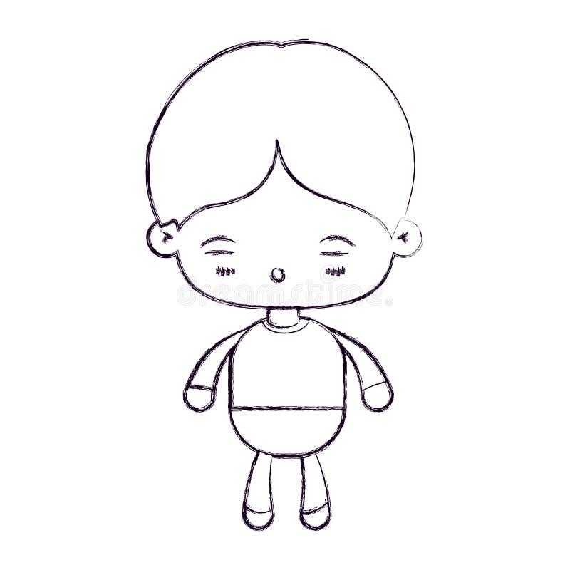 Zamazana cienka sylwetka kawaii chłopiec z wyrazem twarzy zmęczony ilustracji