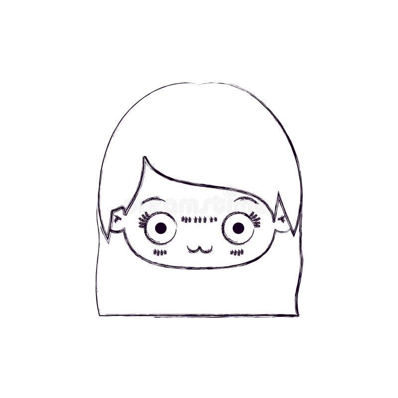 Zamazana cienka sylwetka kawaii głowa śliczna mała dziewczynka z prostym włosy i wyraz twarzy deprymujący ilustracji